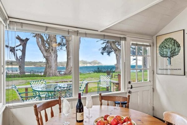 Kitchen Dining Area with clear view of Point Lobos State Park. Perfect spot for an early morning hike.