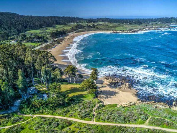 Arial view of the beach , and Point Lobos State Park. The trail access is located on the property, beautiful walk to Carmel River Beach. You can walk into the town of Carmel along the coast.